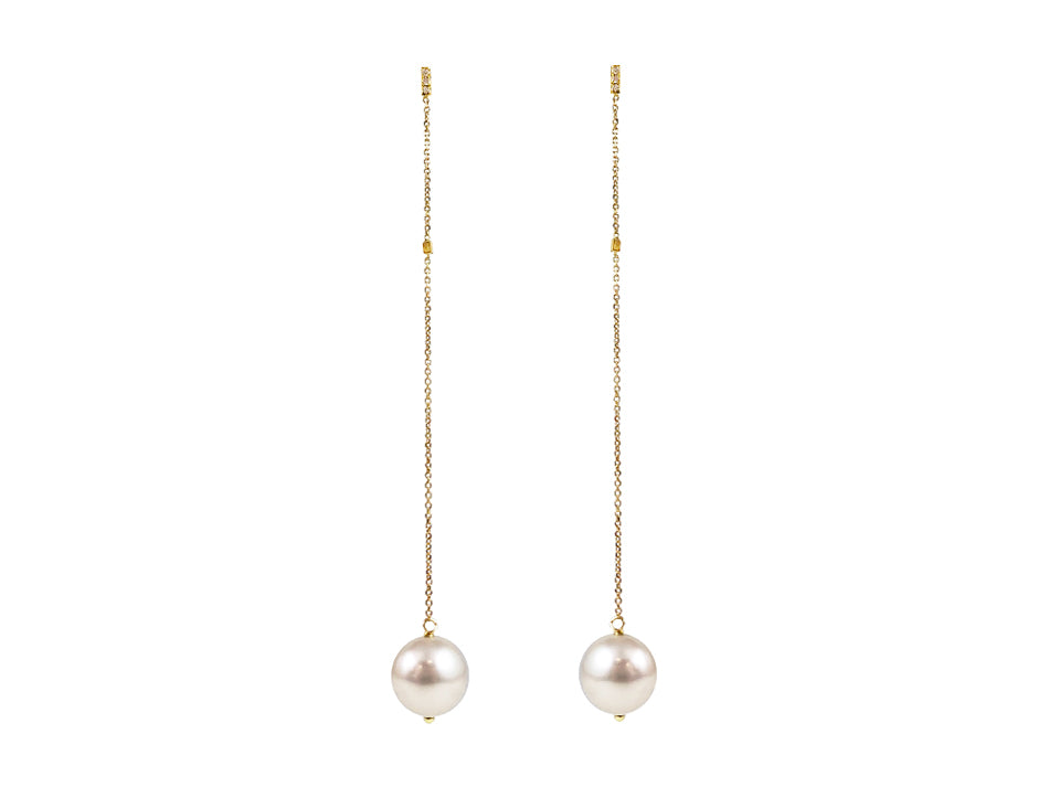 Cultured Freshwater Pearl and Diamond Earrings