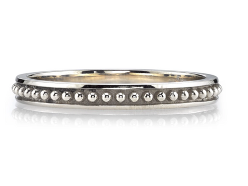 "Beaded ""Brinly"" Wedding Band in White Gold"