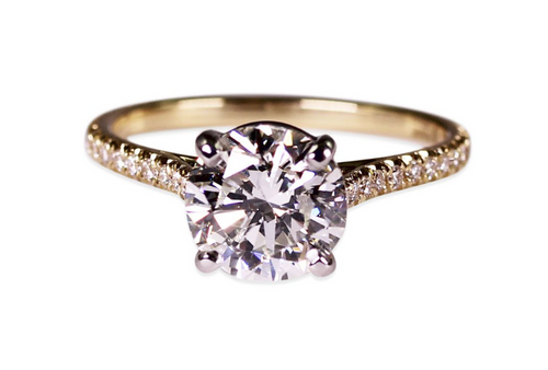 18K Yellow Gold, Platinum and Diamond Engagement Ring