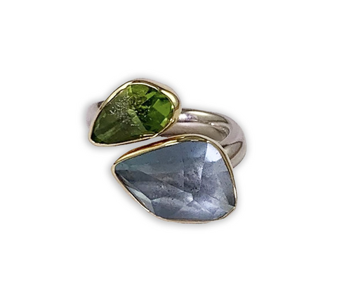 Aquamarine and Peridot Ring in Sterling Silver with Yellow Gold