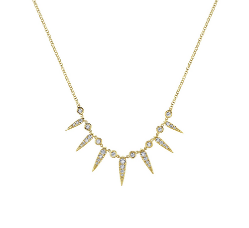 Diamond Spire Necklace in Yellow Gold