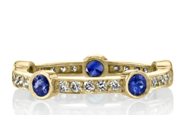 "Sapphire and Diamond ""Fiona"" Wedding Band in Yellow Gold"