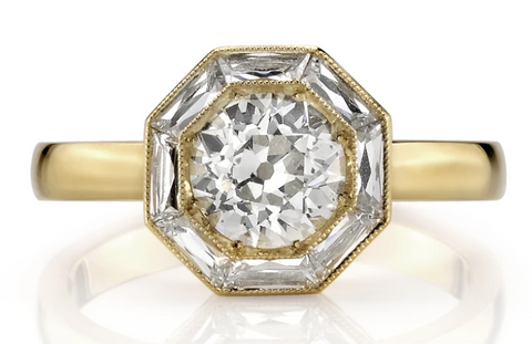 "White and Cognac Diamond ""Bubble"" Ring"