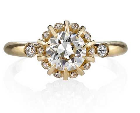 18K Yellow Gold and Solitaire Diamond Engagement Ring
