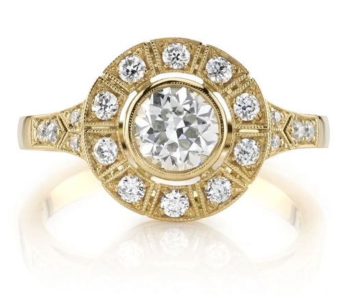 "Vintage-Inspired Halo Diamond ""River"" Engagement Ring"