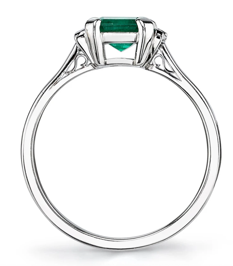 "Emerald and Diamond Baguette ""London"" Engagement Ring"