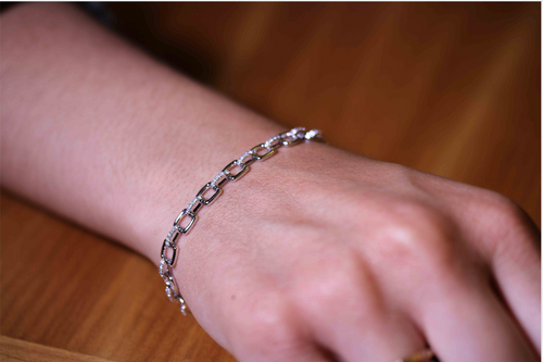 Timeless Diamond Link Bracelet in White Gold