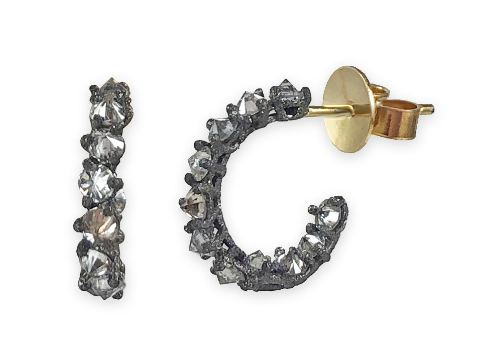 5abc21a0168a5 Oxidized 14K White Gold, 18K Yellow Gold and Inverted Diamond Hoop Earrings
