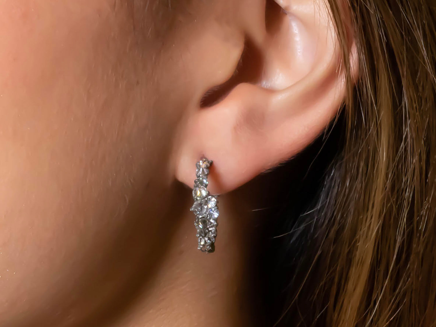 Oxidized 14K White Gold, 18K Yellow Gold and Inverted Diamond Hoop Earrings