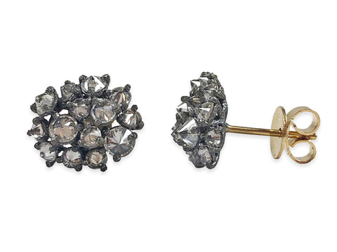 18K Yellow Gold and Morganite Stud Earrings