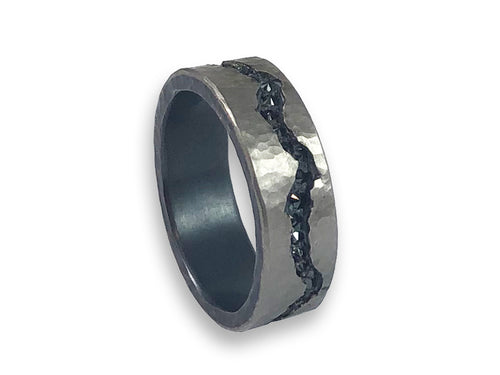 Inverted Black Diamond Channel Men's Wedding Band
