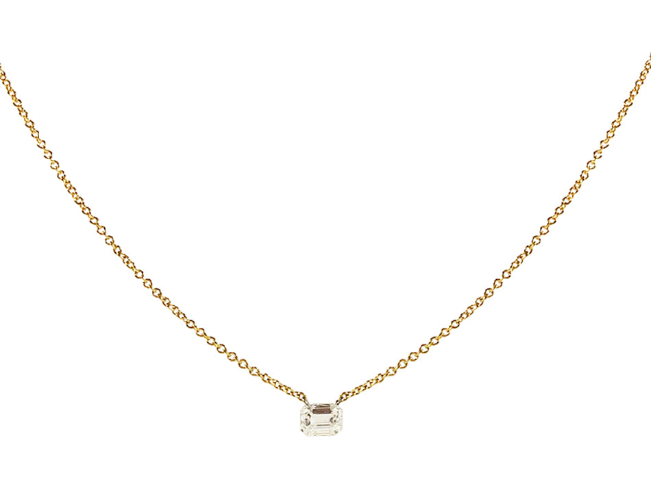 18K Yellow Gold and Emerald Cut Diamond Necklace