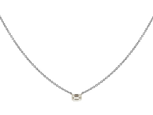 14K White Gold and Emerald Cut Diamond Necklace