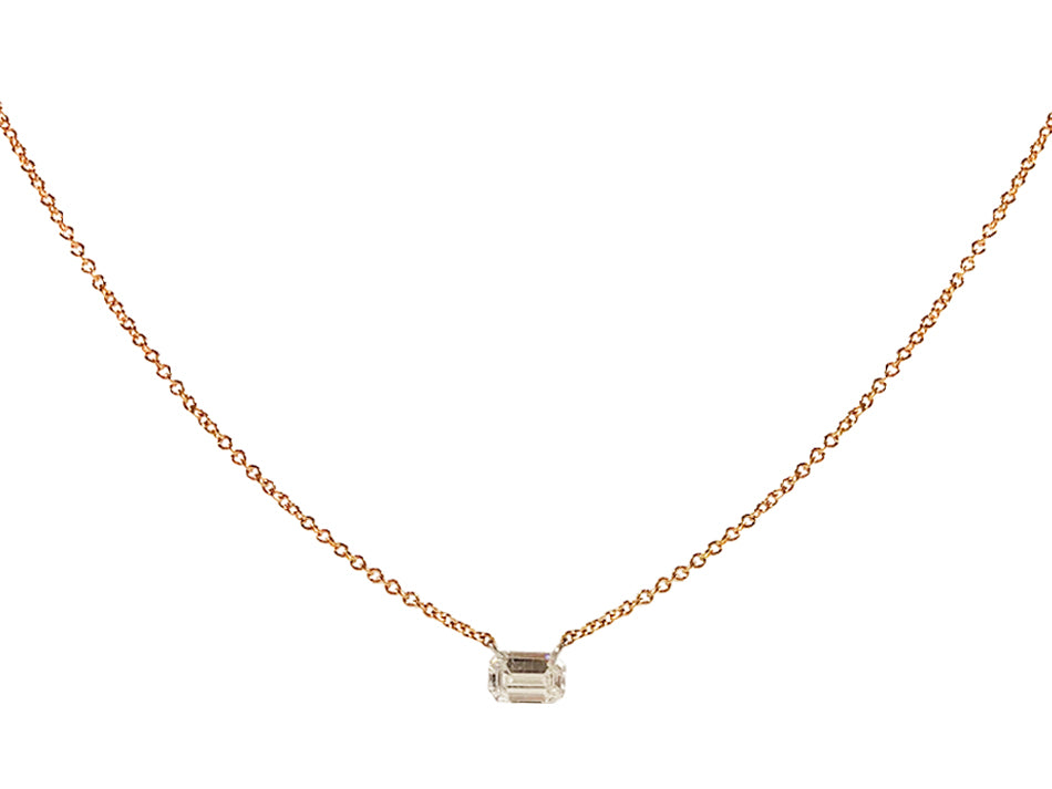 Free Set Emerald Diamond Necklace in Rose Gold