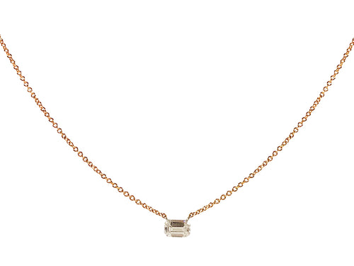 14K Rose Gold and Emerald Cut Diamond Necklace