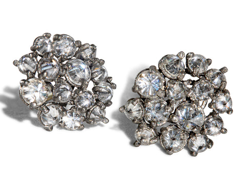 "18K White Gold ""Diamond in Glass Ball"" Earrings"