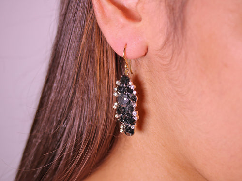 Inverted Black Diamond Cluster Drop Earrings