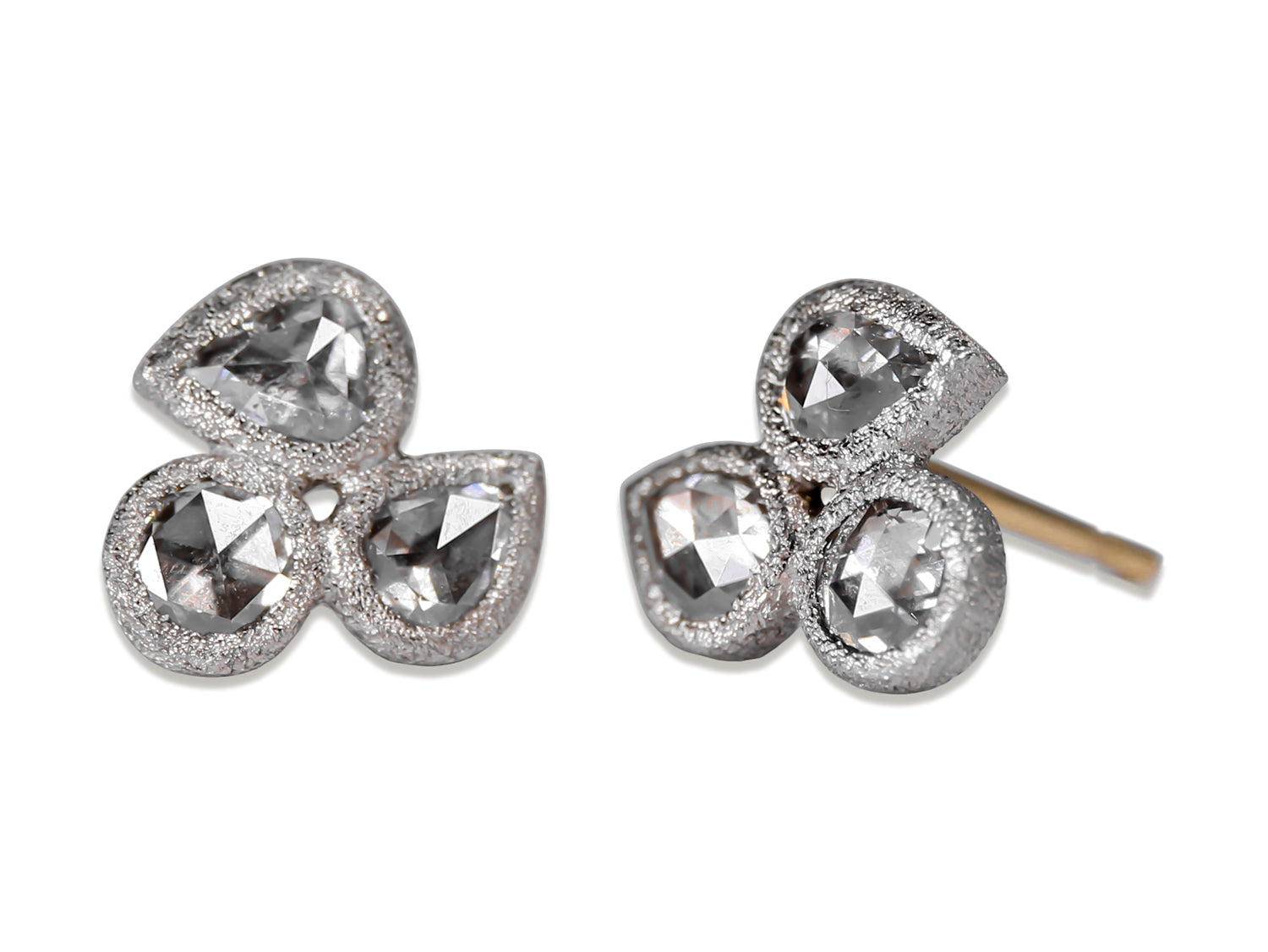 Inverted (Upside Down) Diamond Trio Stud Earrings in White Gold
