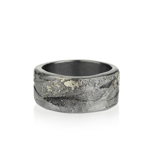 Oxidized Sterling Silver and Palladium Men's Wedding Band