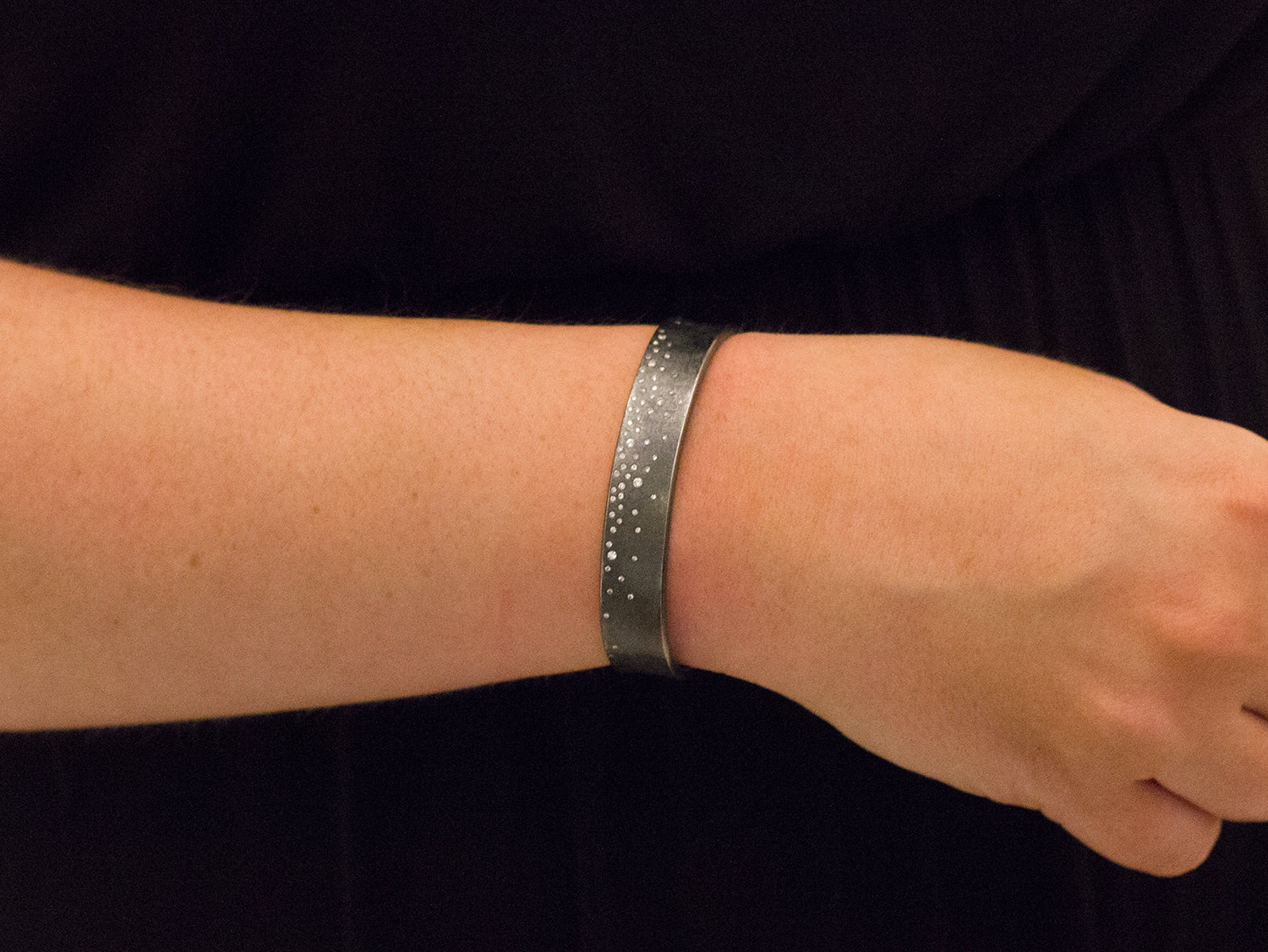 Oxidized Sterling Silver and Diamond Cuff Bracelet
