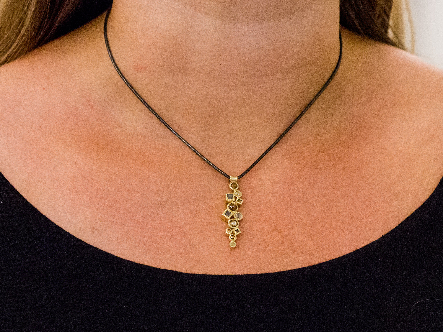14K Yellow Gold and Rose Cut Diamond Pendant Necklace In Washington DC