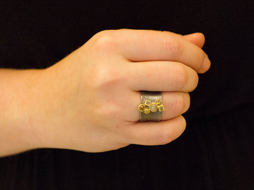Oxidized Sterling Silver, 18K Yellow Gold and Rose Cut Diamond Ring
