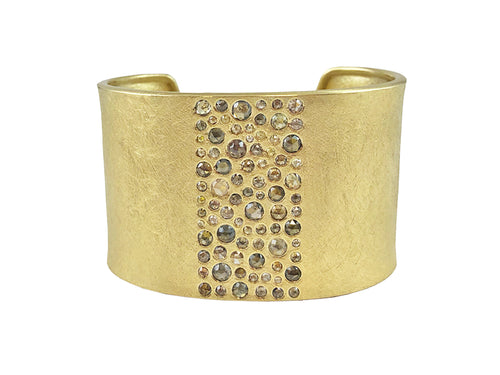 18K Yellow Gold and Natural Colored Diamond Cuff Bracelet