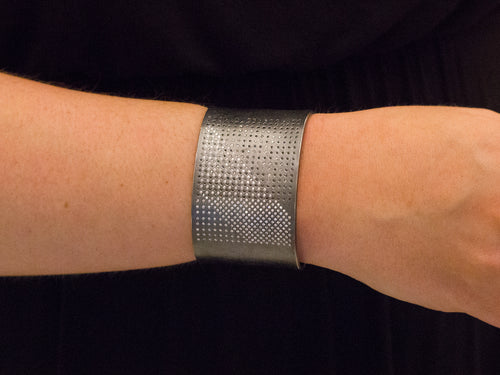 Oxidized Sterling Silver,  Black Diamond and White Diamond Cuff Bracelet