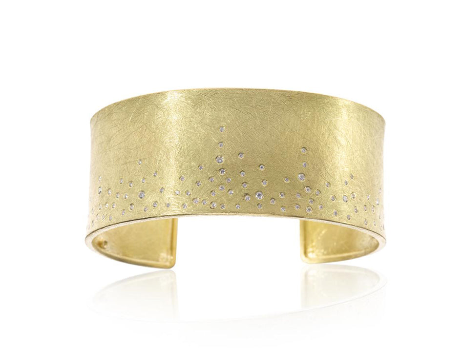 18K Yellow Gold and Diamond Cuff Bracelet