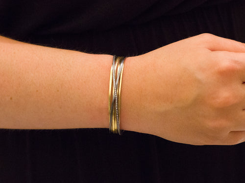 18K Yellow Gold, Oxidized Sterling Silver and Diamond Cuff Bracelet