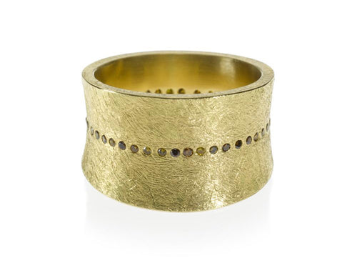 18K Yellow Gold and Diamond Band
