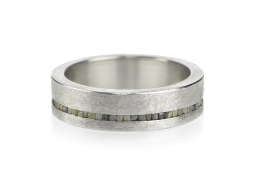 Sterling Silver and Diamond Men's Wedding Band