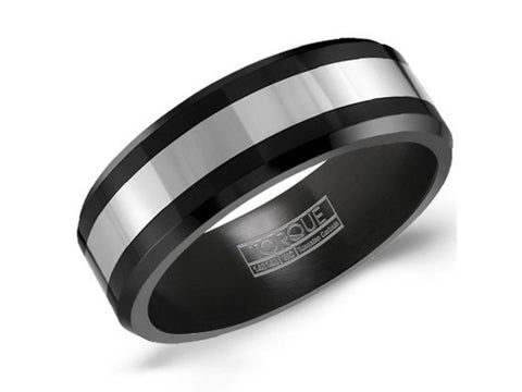 "Damascus Stainless Steel ""Barrel"" Men's Wedding Band"
