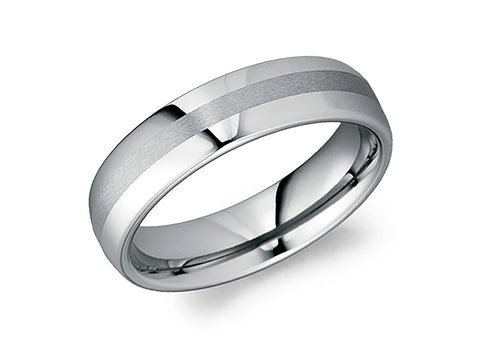 Palladium, Oxidized Sterling Silver and Inverted Black Diamond Men's Fissure Wedding Band