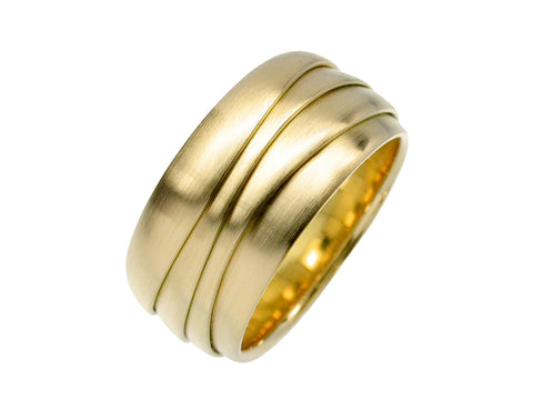 18K White Gold, 18K Green Gold and Diamond Men's Wedding Band