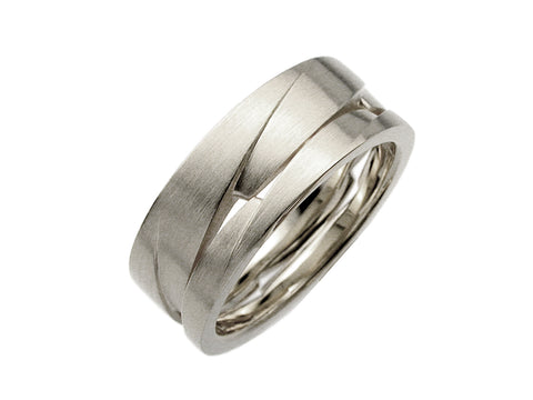 22K Yellow Gold and Oxidized Sterling Silver Men's Wedding Band
