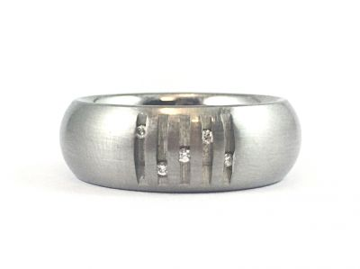 Stainless Steel and Diamond Men's Wedding Band