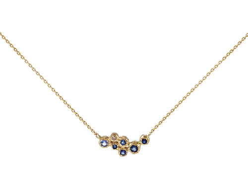 18K Yellow Gold, Sapphire and Diamond Necklace