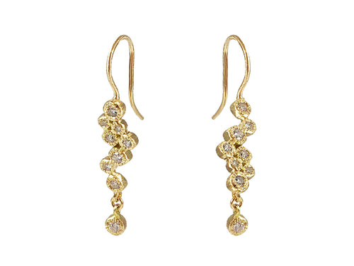 18K Yellow Gold and Diamond Earrings