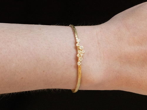 Simple 18K Yellow Gold and Diamond Cuff Bracelet at the Best Jewelry Store in Washington DC