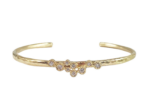 Oxidized Sterling Silver, 18K Yellow Gold and Diamond Cuff Bracelet