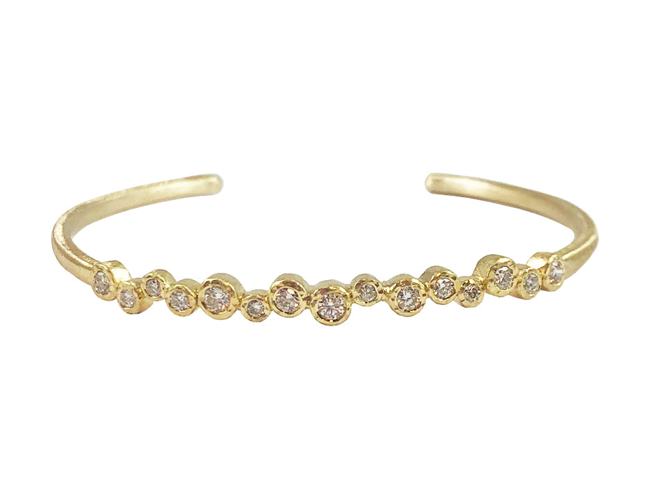 Simple 18K Yellow Gold and Diamond Cuff Bracelet