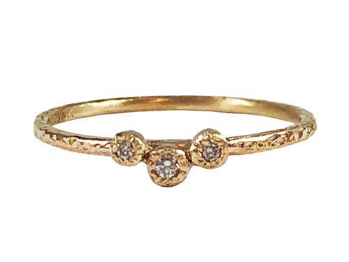 "14K Yellow Gold and Bezel Diamond ""Stackable"" Ring"