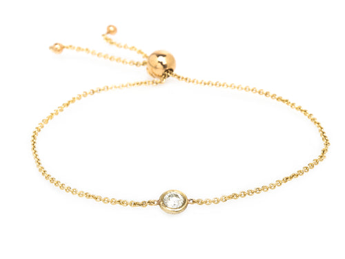 Floating Round Diamond Bolo Bracelet