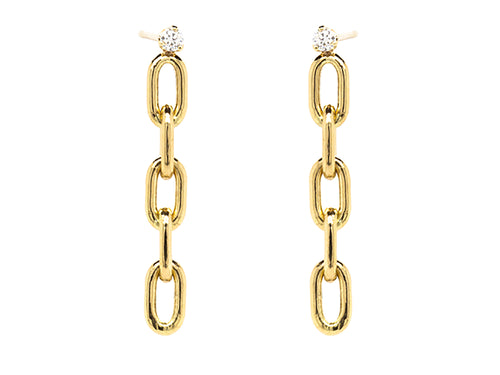 Diamond Oval Link Short Drop Earrings