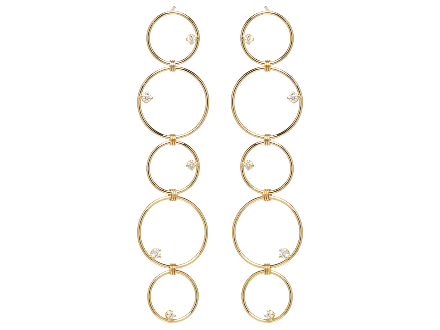 """Prong Diamond In a Circle"" Drop Earrings"
