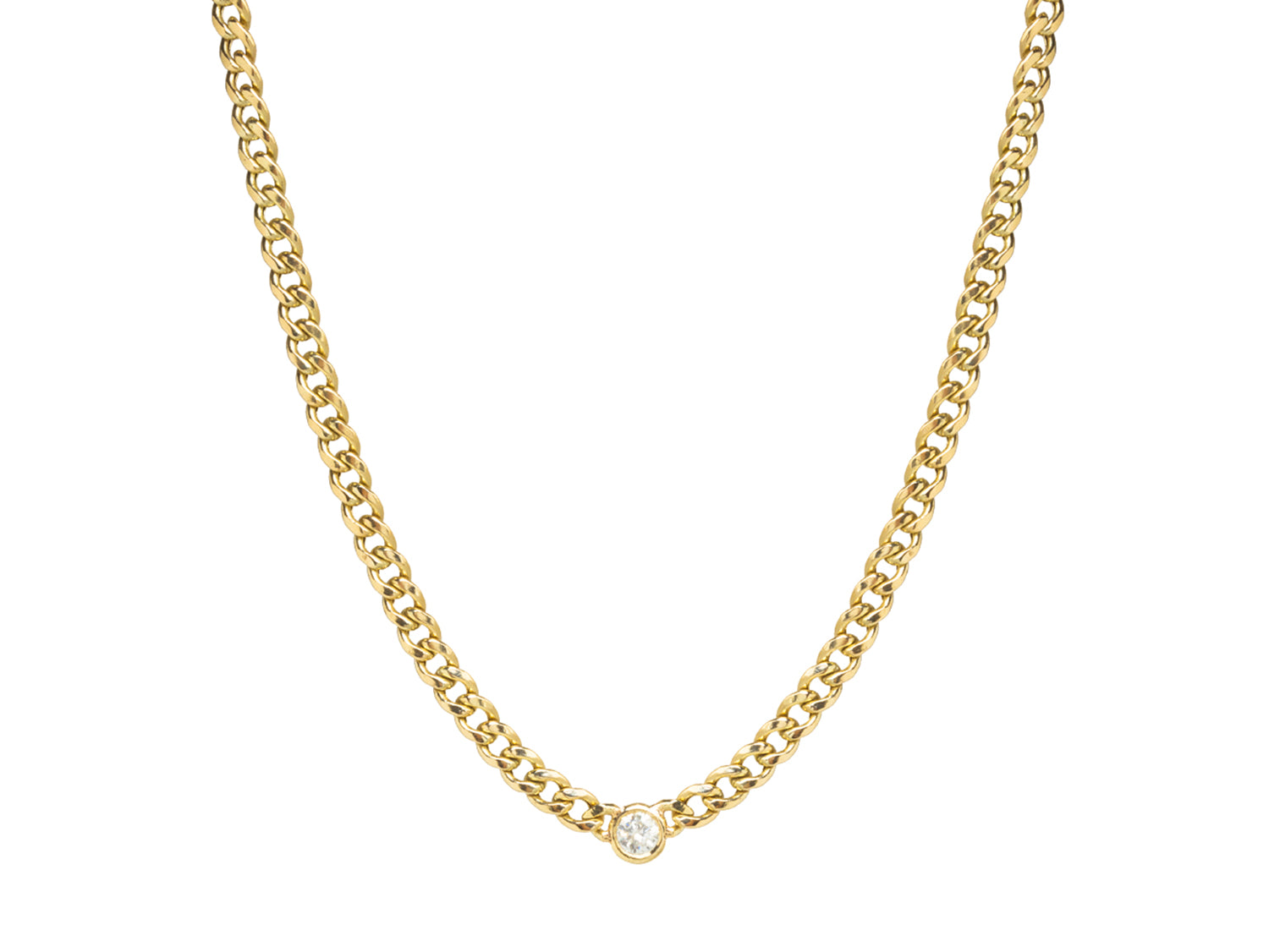 Floating Diamond Curb Chain Necklace in Yellow Gold