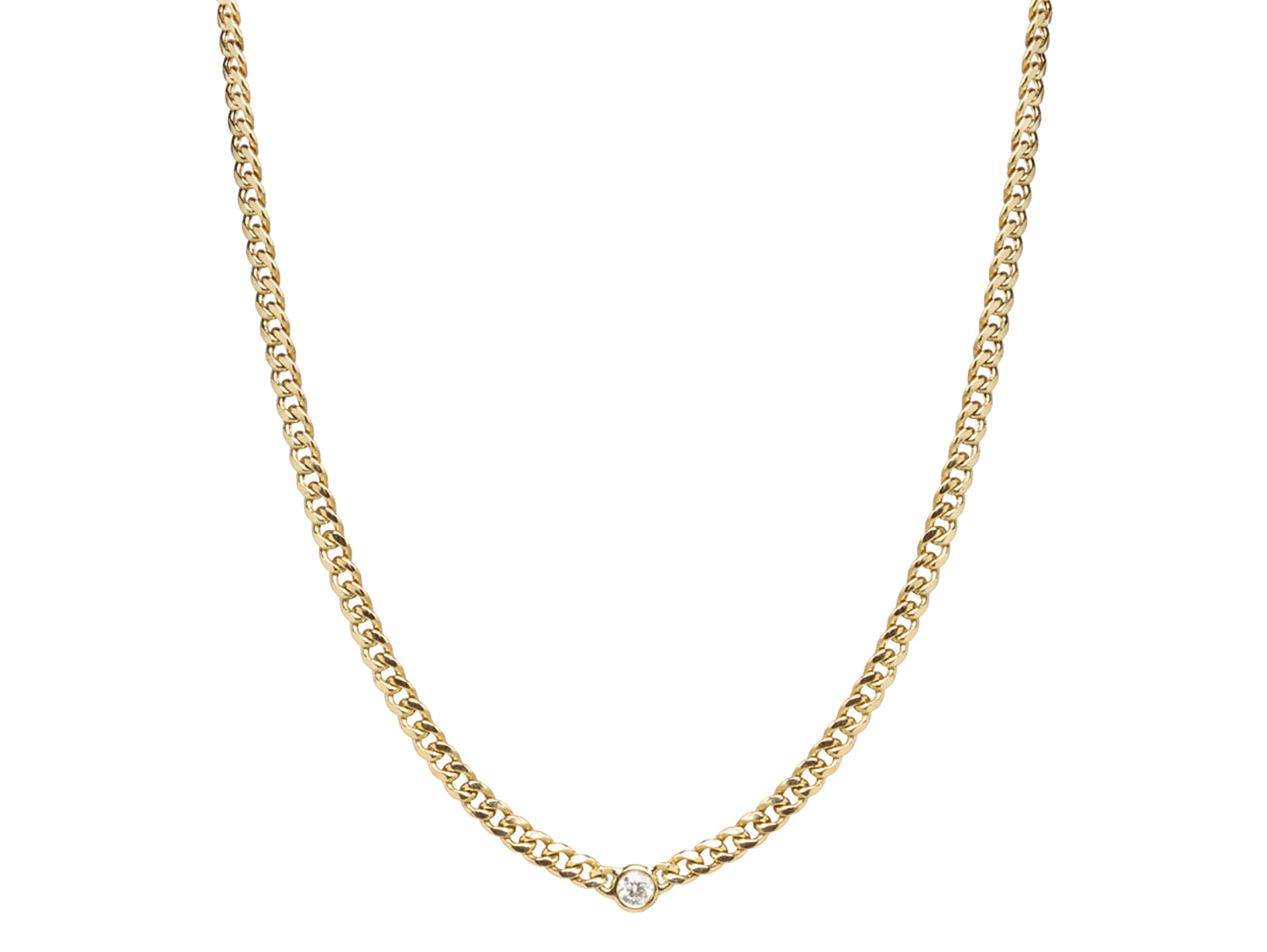 Small Curb Chain Necklace with Floating Diamond