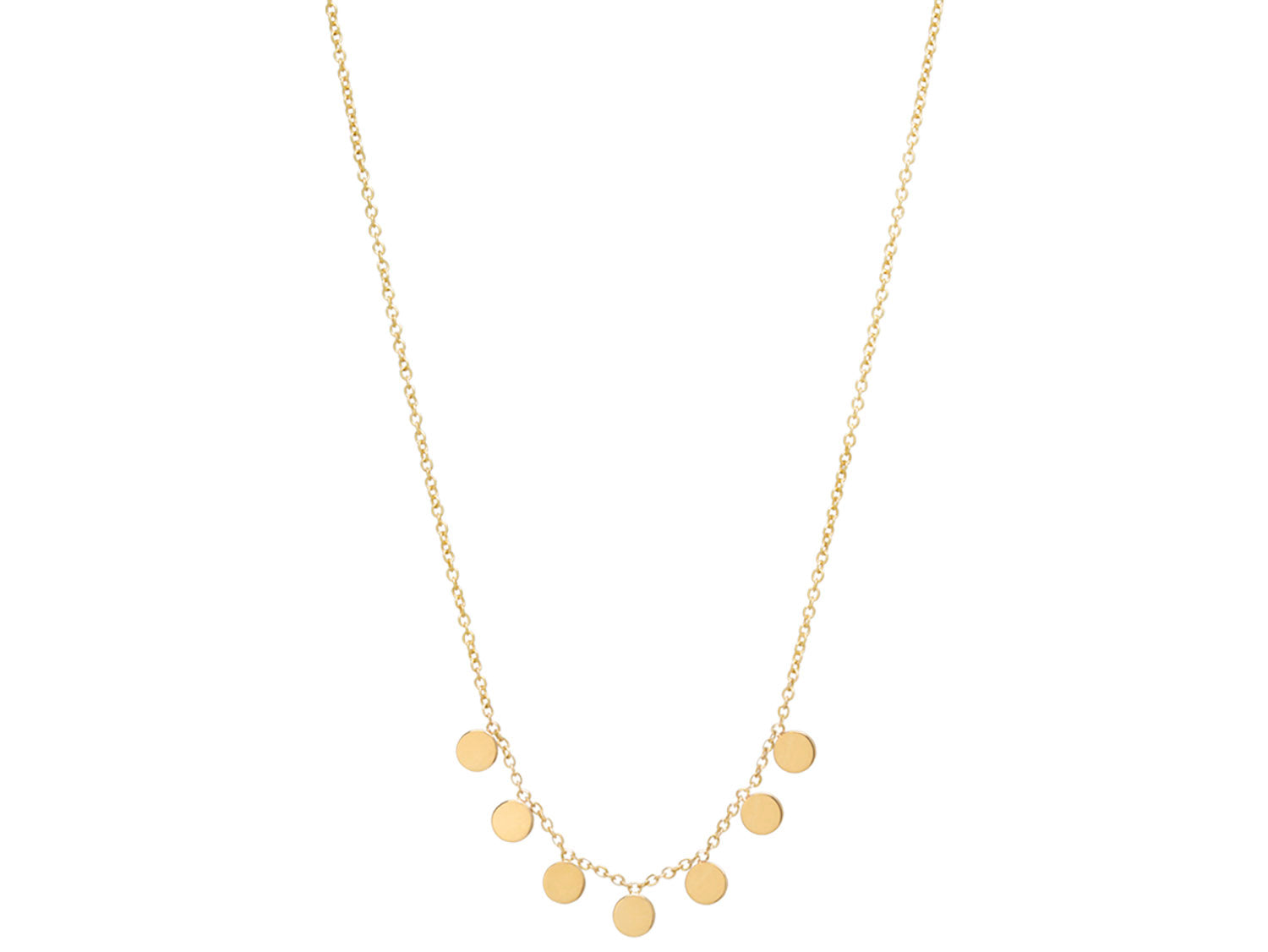 Gold Dangling Disc Necklace