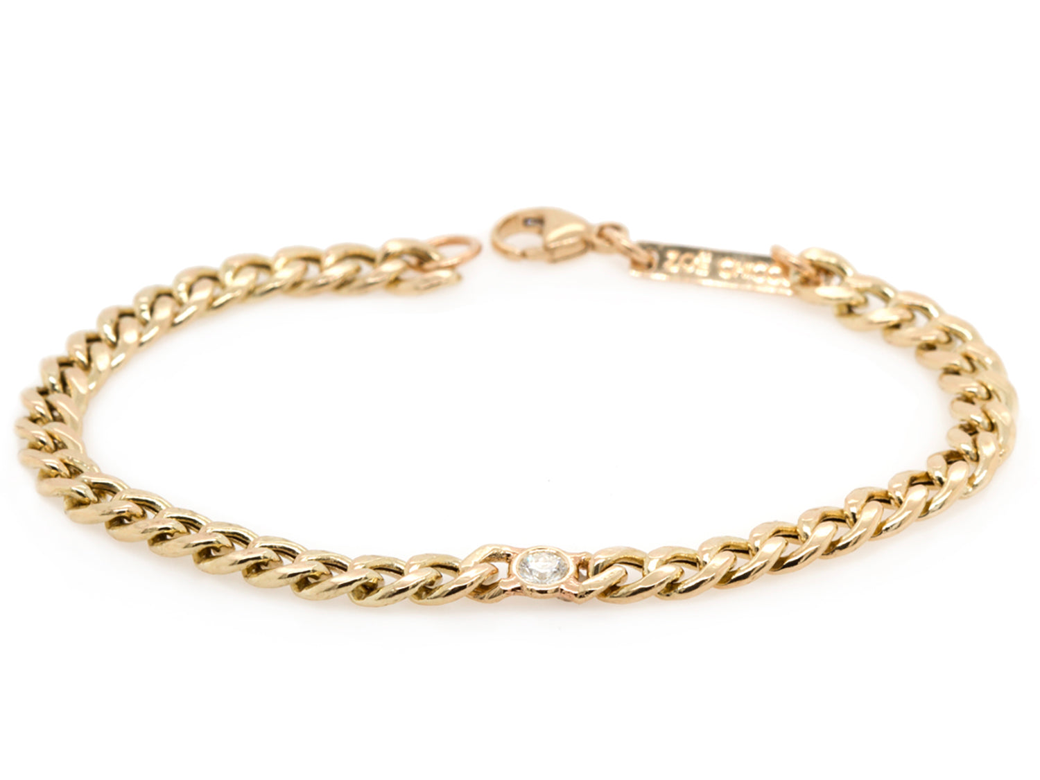Curb Chain Bracelet with Floating Diamond